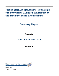 Public Opinion Research: Evaluating the Provincial Budget's Allocation to the Ministry of the Environment
