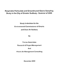 Respirable Particulate and Ground-Level Ozone Sampling Study in the City of Greater Sudbury – Summer of 2009