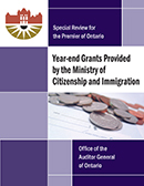 Special Review on Year-end Grants Provided by the Ministry of Citizenship and Immigration